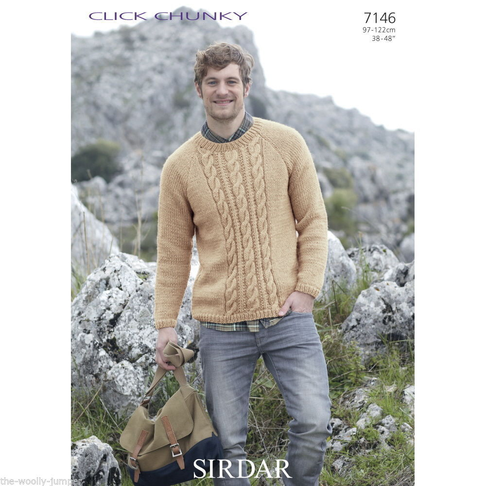 7146 - SIRDAR CLICK CHUNKY MENS SWEATER KNITTING PATTERN - TO FIT ...
