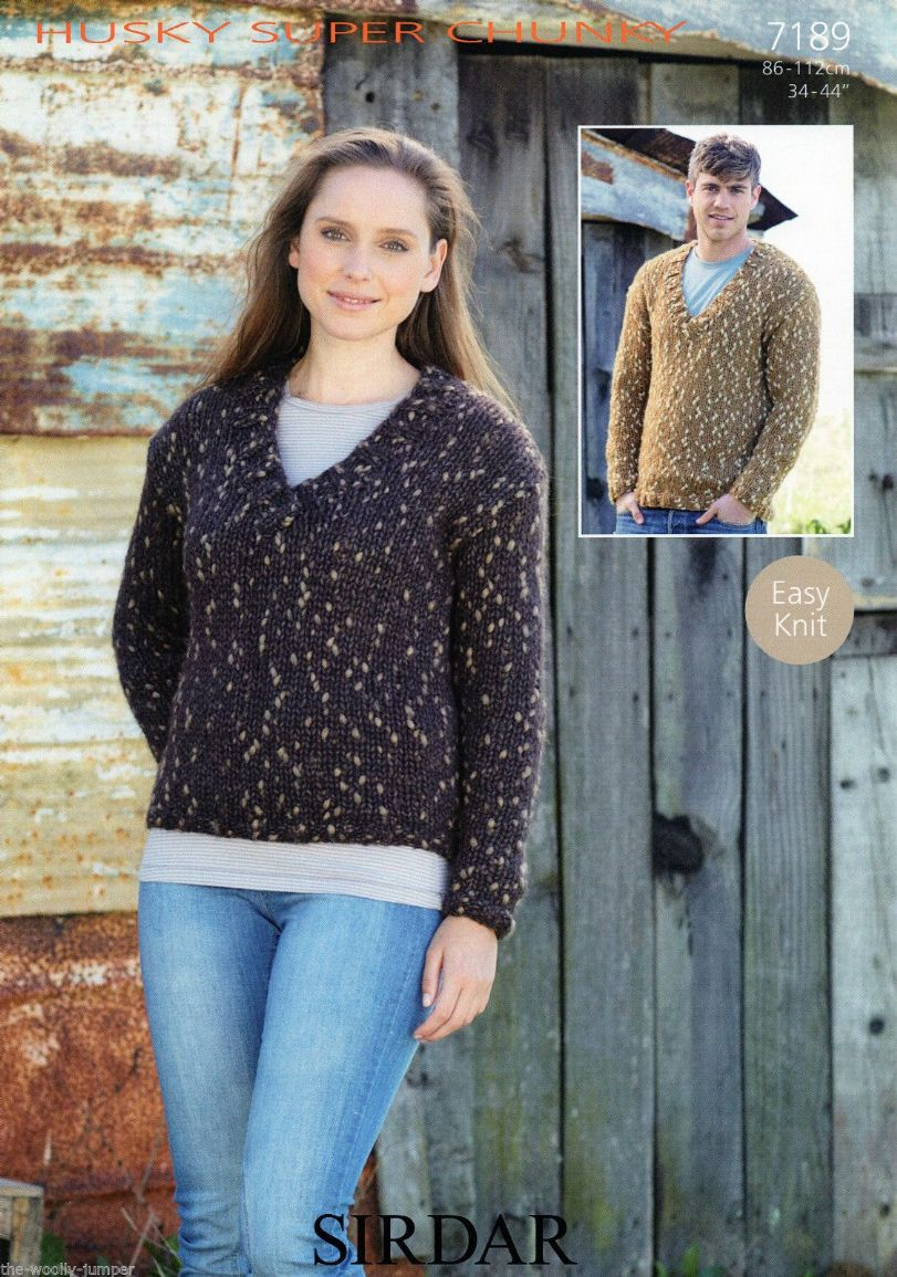 7189 - SIRDAR HUSKY SUPER CHUNKY SWEATER KNITTING PATTERN - TO FIT ...
