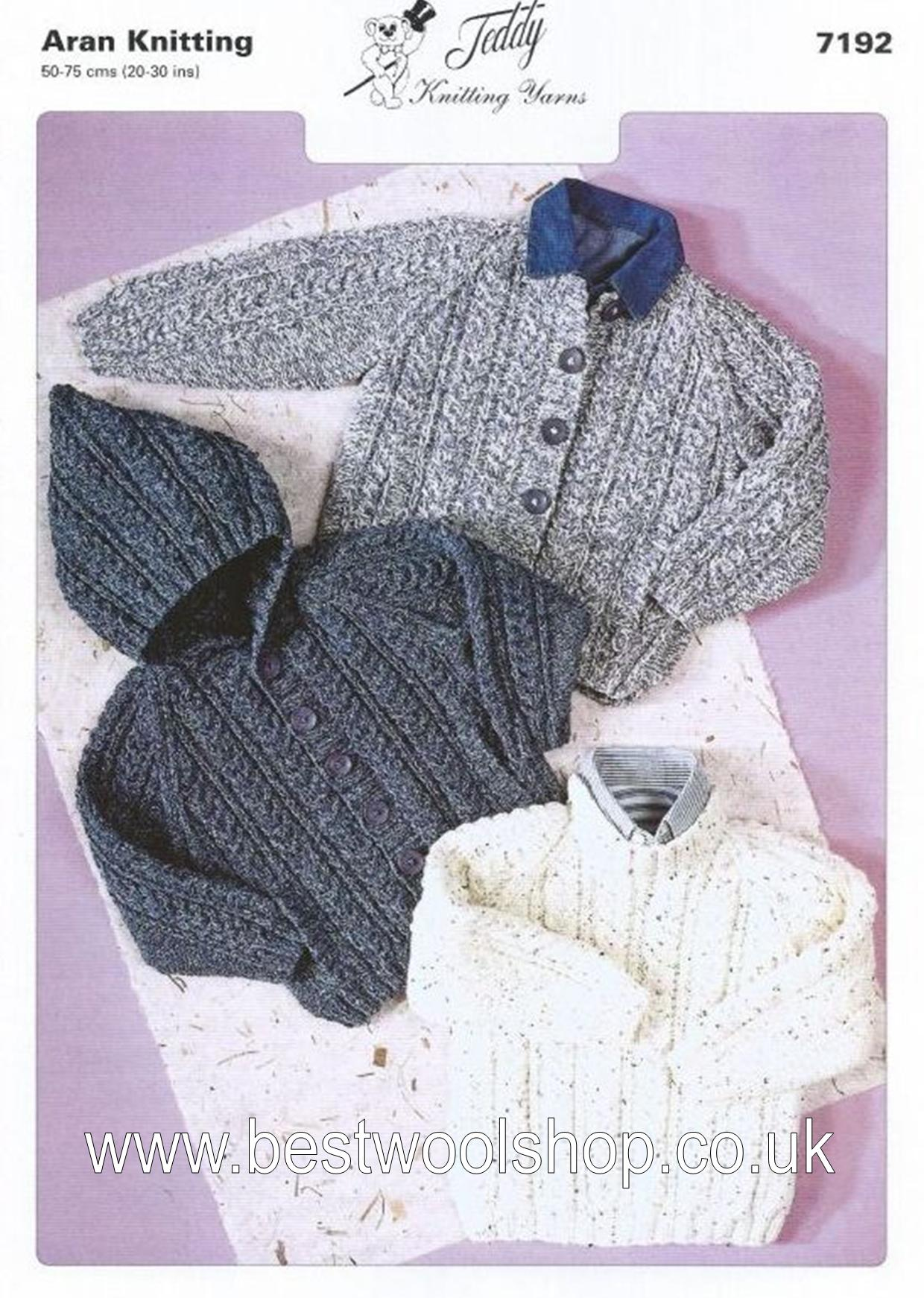7192 - V & A ARAN CHILDRENS SWEATER & HOODED CARDIGAN KNITTING ...