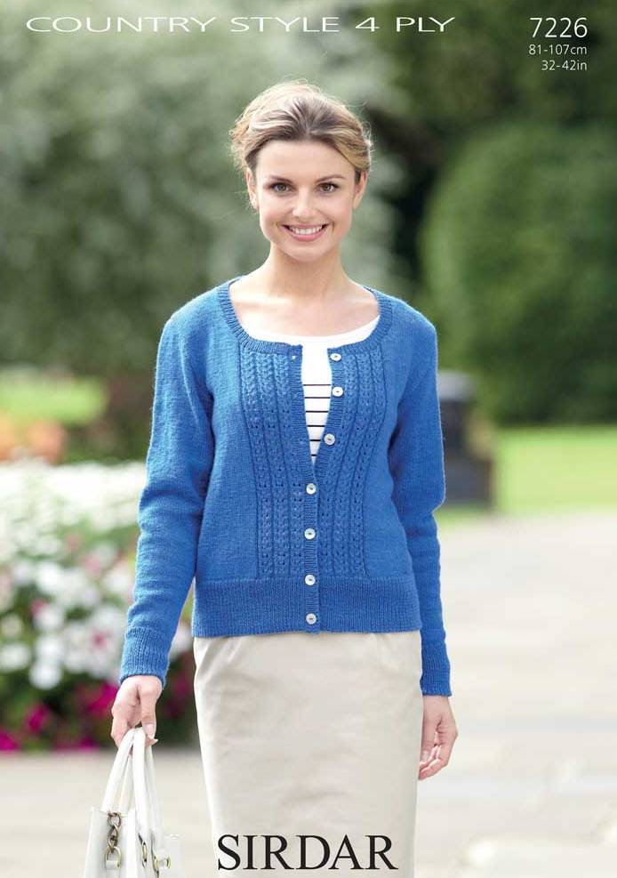 7226 - SIRDAR COUNTRY STYLE 4 PLY CARDIGAN KNITTING PATTERN - TO FIT 32 TO 42