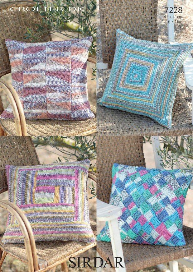 7228 Sirdar Crofter Dk Cushion Cover Knitting Pattern 41 X 41cm