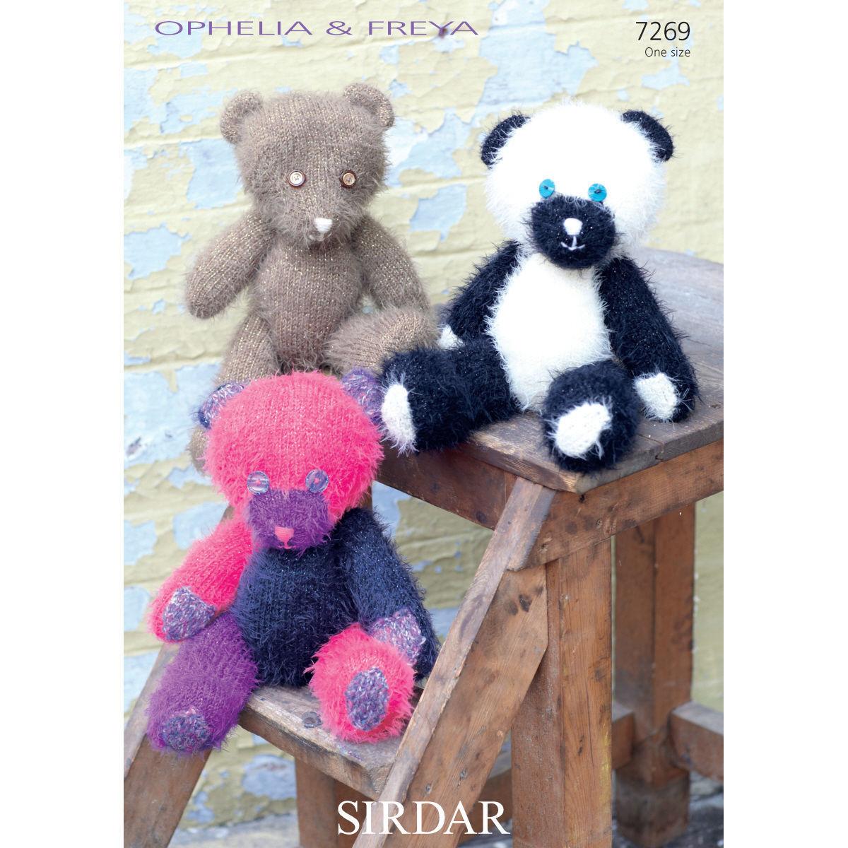 7269 - SIRDAR OPHELIA & FREYA TEDDY BEAR KNITTING PATTERN - ONE SIZE