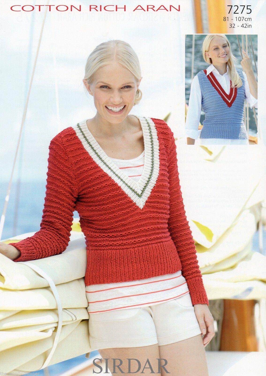 7275 Sirdar Cotton Rich Aran Sweater Tank Top Knitting Pattern