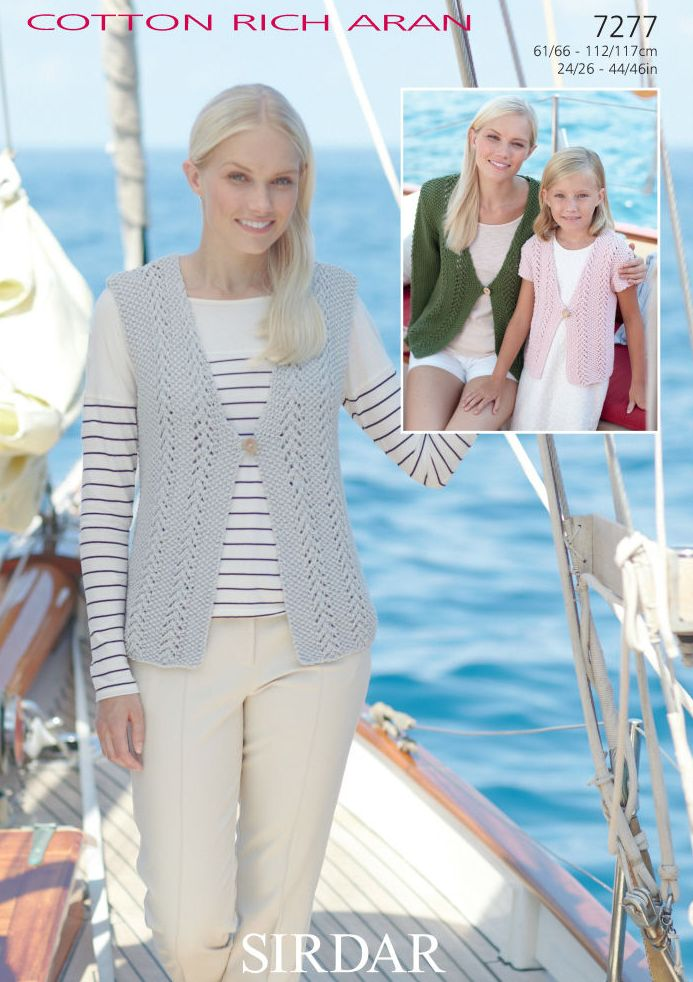 7277 Sirdar Cotton Rich Aran Cardigan Waistcoat Knitting Pattern