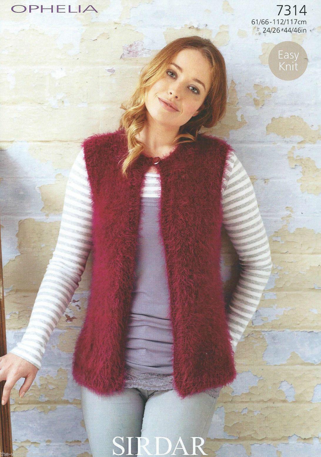 7314 Sirdar Ophelia Chunky Easy Knit Gilet Knitting Pattern To