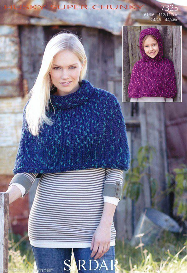 7325 Sirdar Husky Super Chunky Poncho Knitting Pattern To Fit
