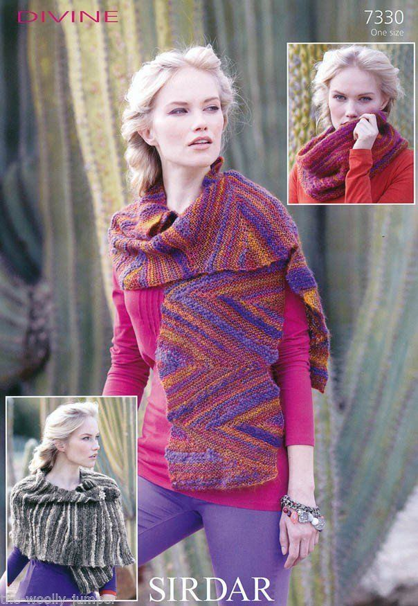 7330 Sirdar Divine Scarf Snood Wrap Knitting Pattern One Size