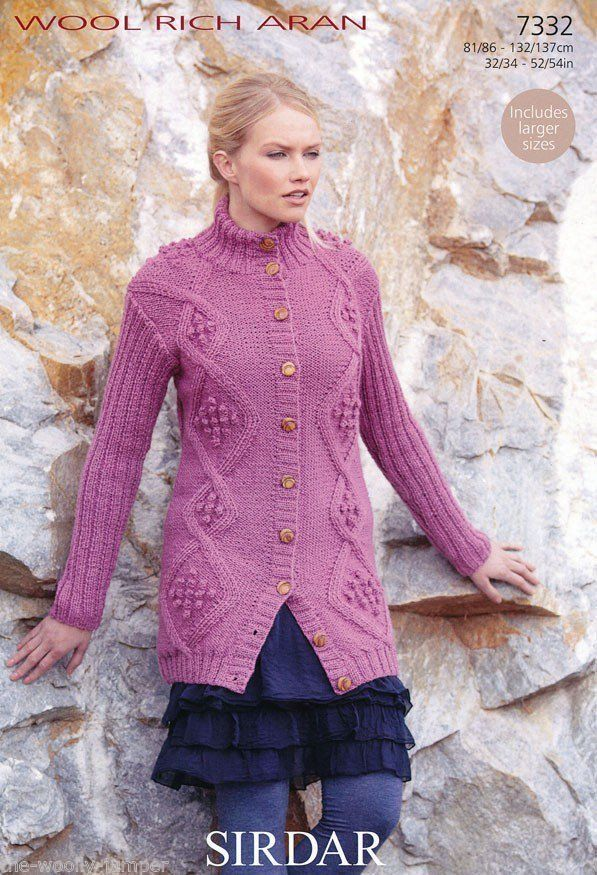 7464bff3c 7332 - SIRDAR WOOL RICH ARAN JACKET KNITTING PATTERN - TO FIT CHEST SIZE 32  TO 54