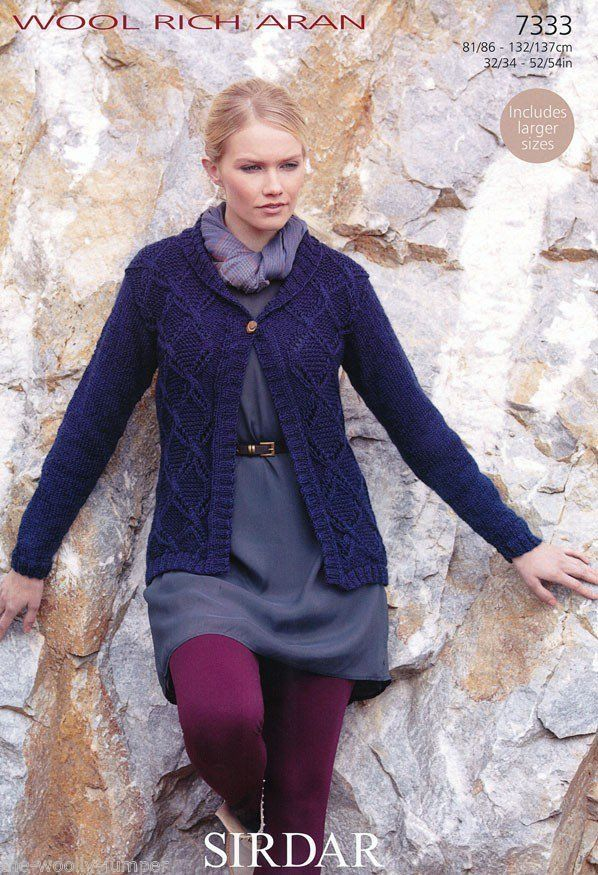 95d764411 7333 - SIRDAR WOOL RICH ARAN JACKET KNITTING PATTERN - TO FIT CHEST SIZE 32  TO 54