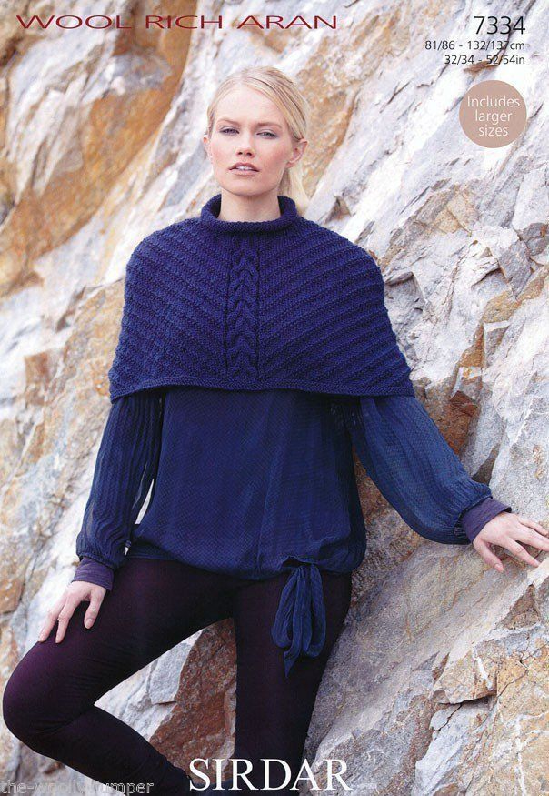 6c419b083 7334 - SIRDAR WOOL RICH ARAN CAPE KNITTING PATTERN - TO FIT CHEST SIZE 32  TO 54