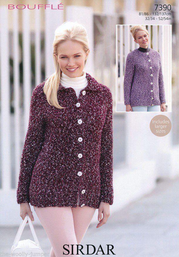 Knitting Pattern Chest Sizes : 7390 - SIRDAR BOUFFLE CARDIGAN KNITTING PATTERN - TO FIT CHEST SIZE 32 TO 54