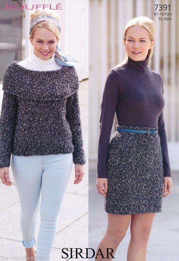 7391 - SIRDAR BOUFFLE SWEATER & SKIRT KNITTING PATTERN - TO FIT ...