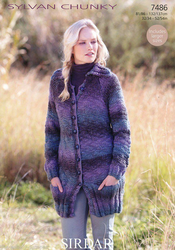 7486 Sirdar Sylvan Chunky Long Cardigan Coat Knitting Pattern To