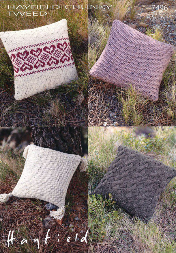 7496 Hayfield Chunky Tweed Cushion Cover Knitting Pattern Size