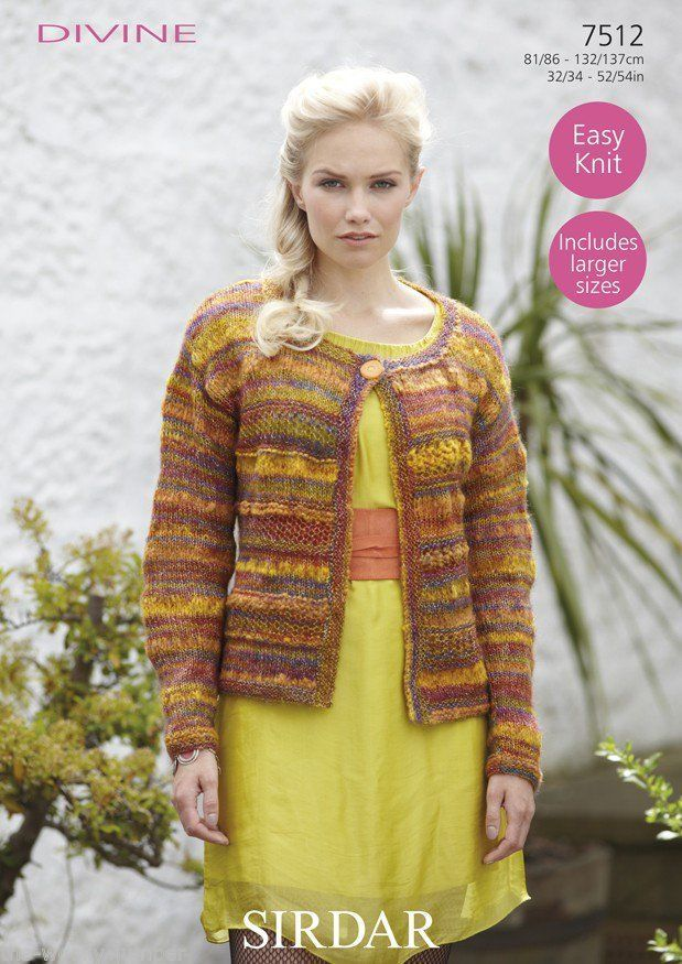 7512 Sirdar Divine Easy Knit Cardigan Knitting Pattern To Fit