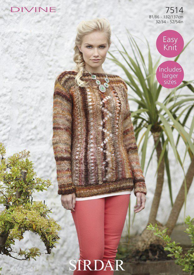 7514 Sirdar Divine Easy Knit Sweater Knitting Pattern To Fit