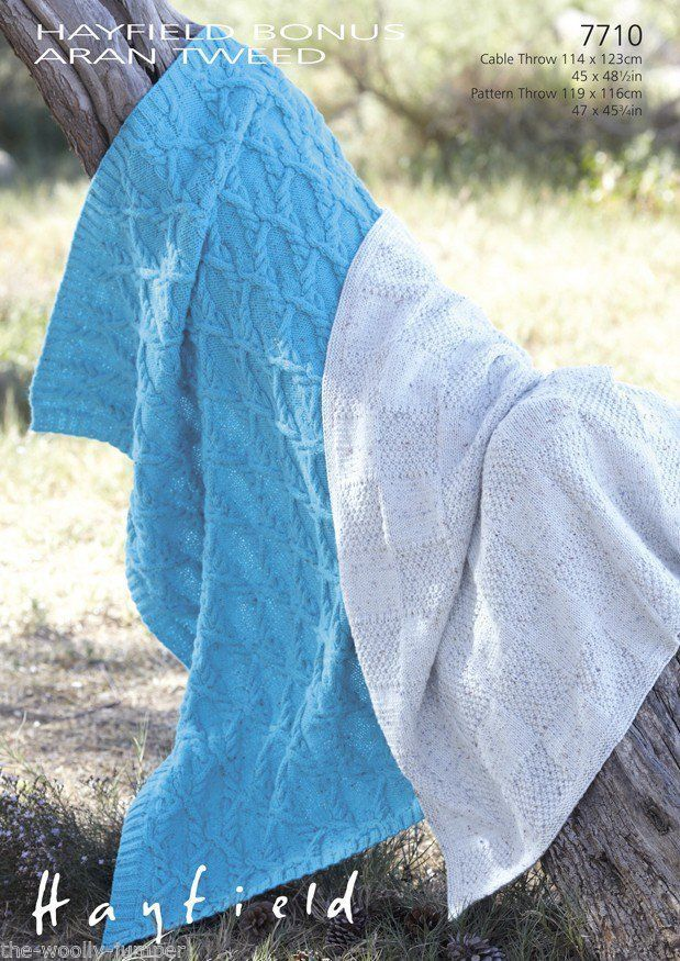 7710 Hayfield Bonus Aran Tweed Throw Knitting Pattern Two Sizes