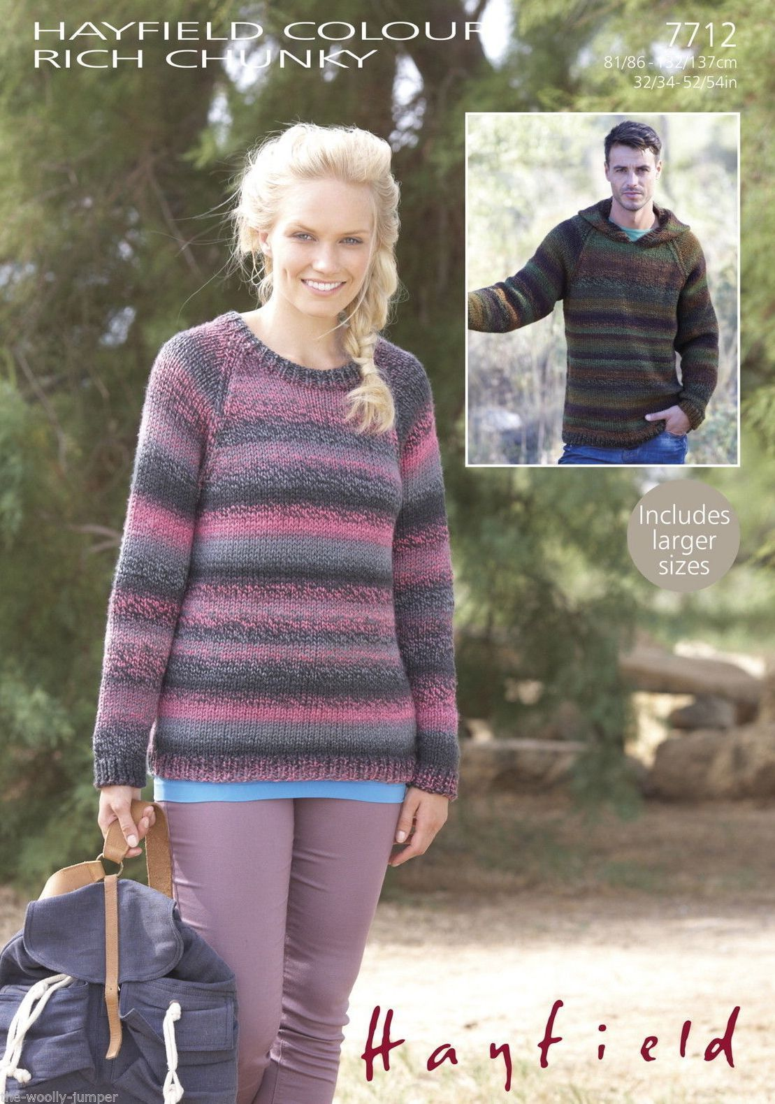 7712 - HAYFIELD COLOUR RICH CHUNKY SWEATER KNITTING PATTERN - TO FIT ...