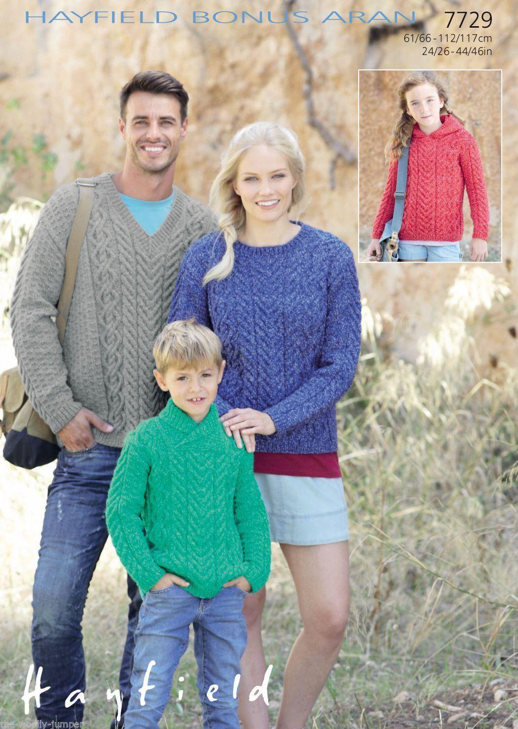 7729 Hayfield Bonus Aran Sweater Knitting Pattern To Fit Chest
