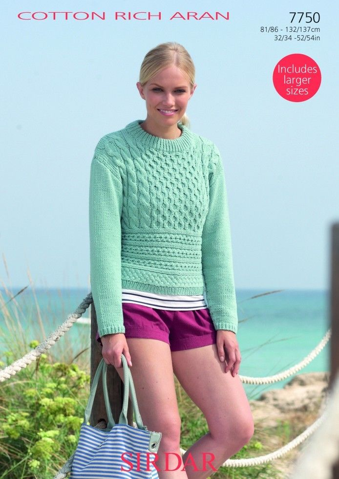 7750 Sirdar Cotton Rich Aran Sweater Knitting Pattern To Fit 32
