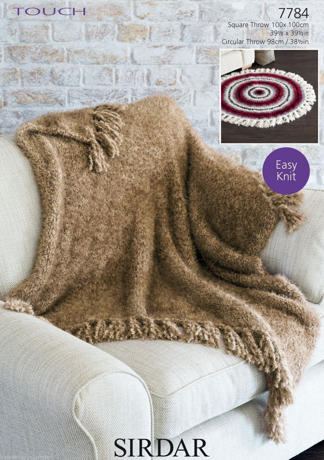 7784 - SIRDAR TOUCH SUPER CHUNKY THROW KNITTING PATTERN - VARIOUS SIZES