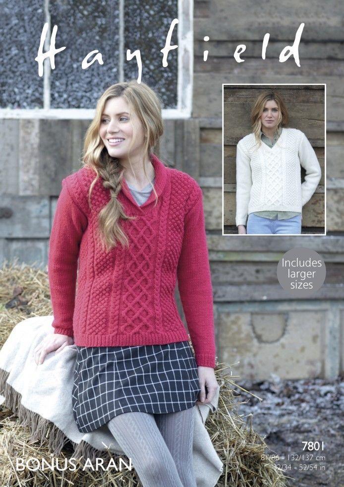 7801 Hayfield Bonus Aran Sweater Knitting Pattern To Fit 32 To 54