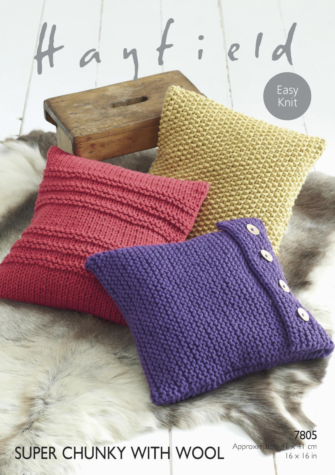 7805 - HAYFIELD SUPER CHUNKY WITH WOOL EASY KNIT CUSHION ...