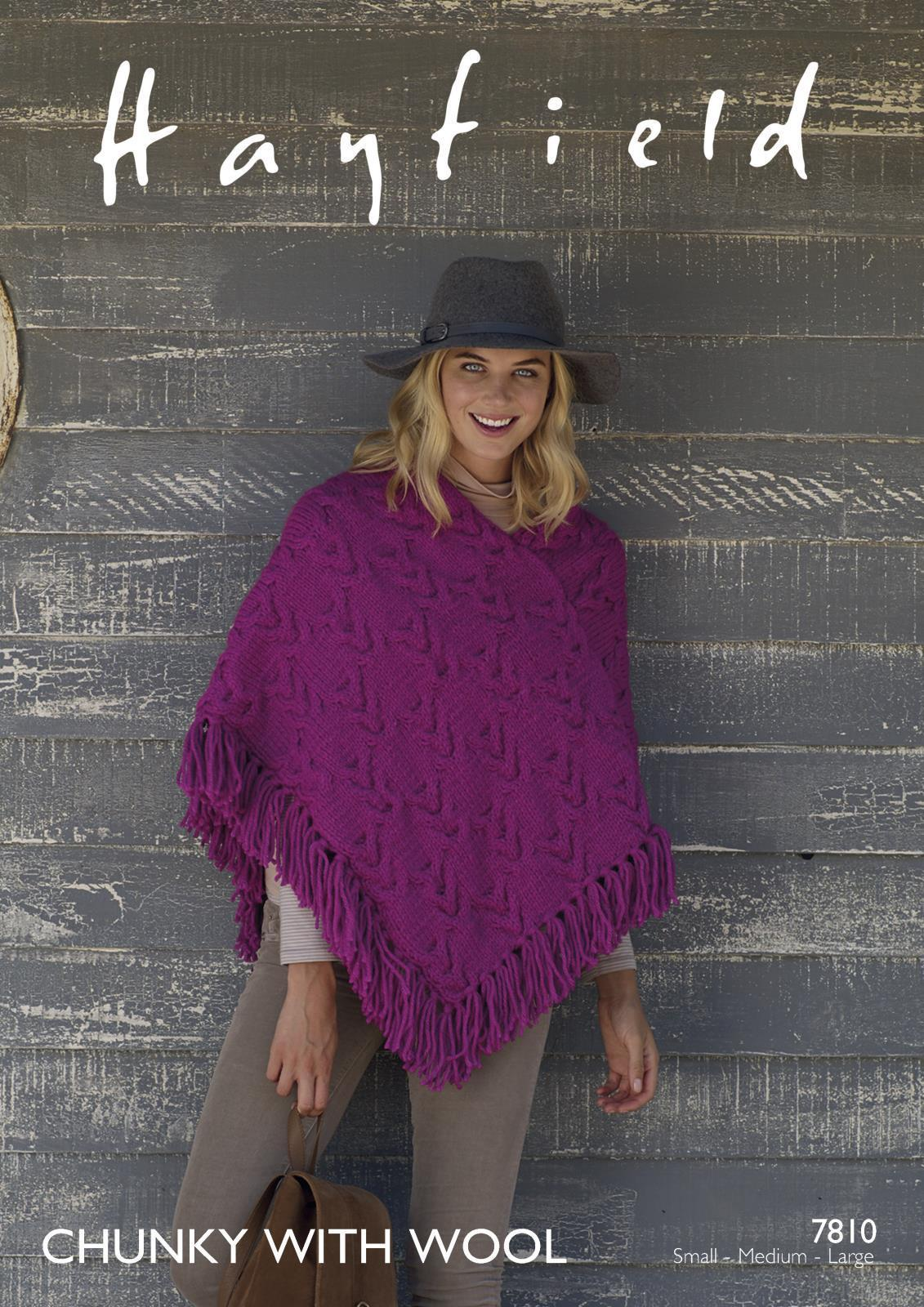 7810 - HAYFIELD CHUNKY WITH WOOL PONCHO KNITTING PATTERN - SMALL ...