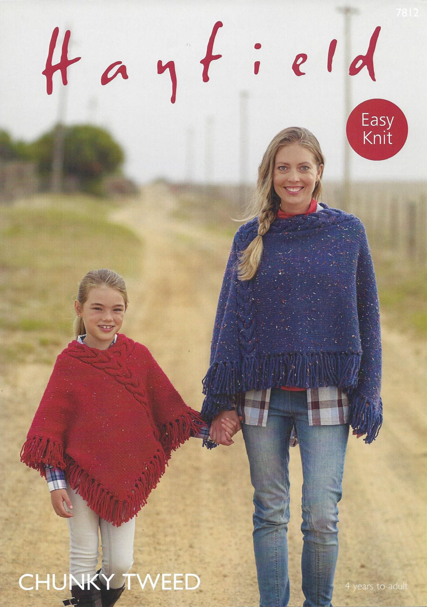 7812 - HAYFIELD CHUNKY TWEED EASY KNIT PONCHO KNITTING PATTERN - 4 ...