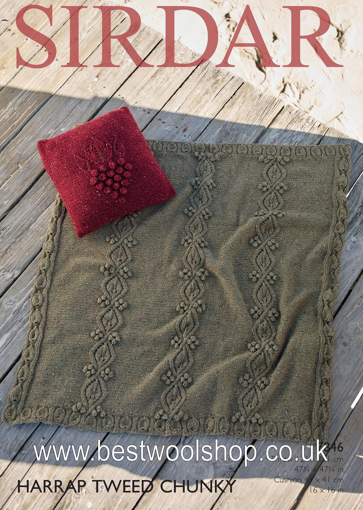 Book Cover Knitting Pattern ~ Sirdar harrap tweed chunky cushion cover throw knitting
