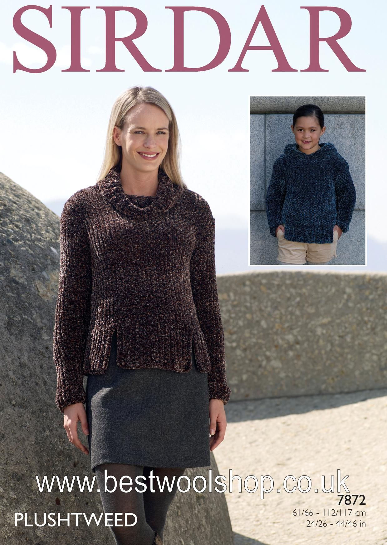 7872 - SIRDAR PLUSHTWEED SUPER CHUNKY COWL NECK & HOODED SWEATER ...