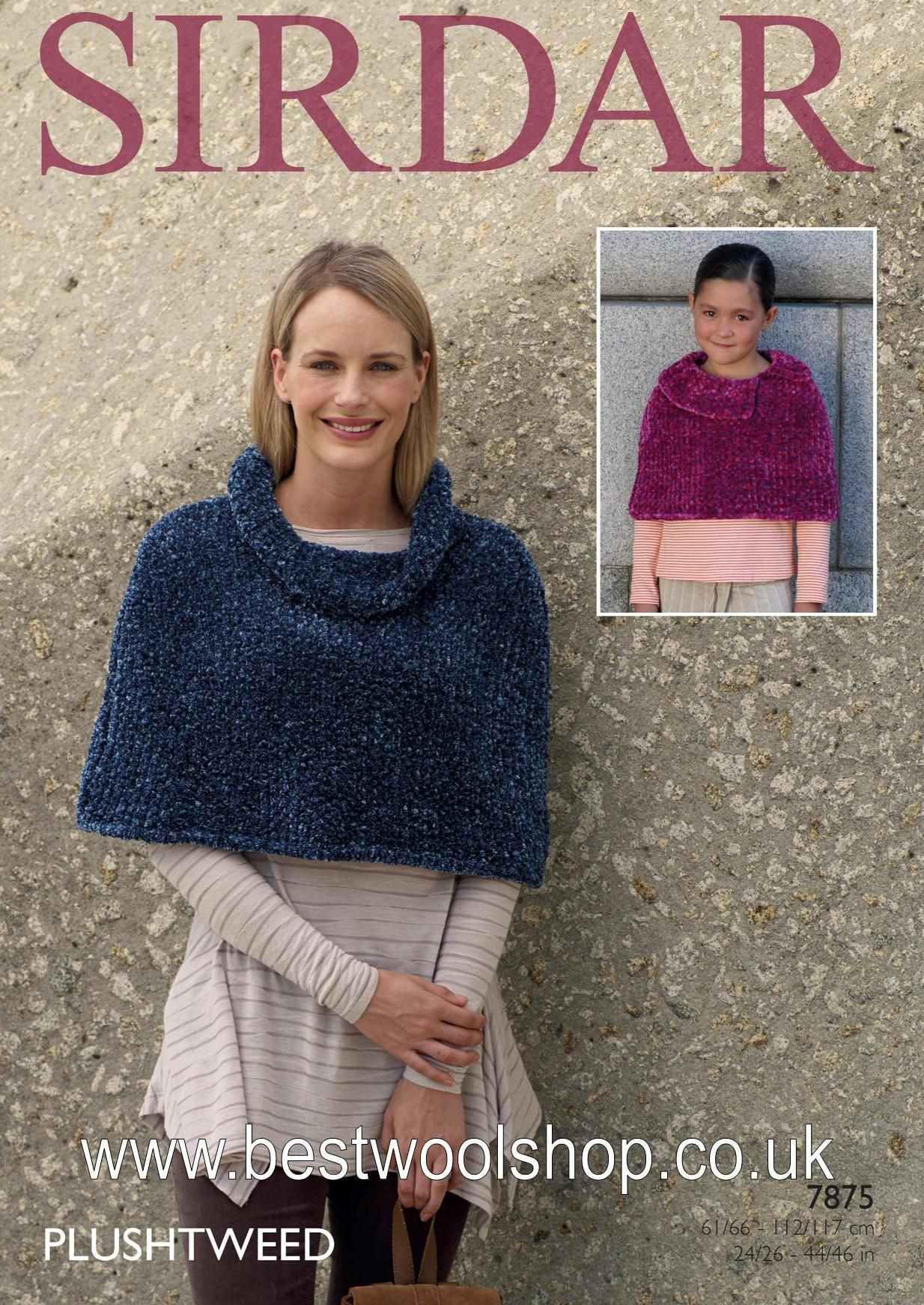 7875 Sirdar Plushtweed Super Chunky Poncho Cape With Cowl Neck Or