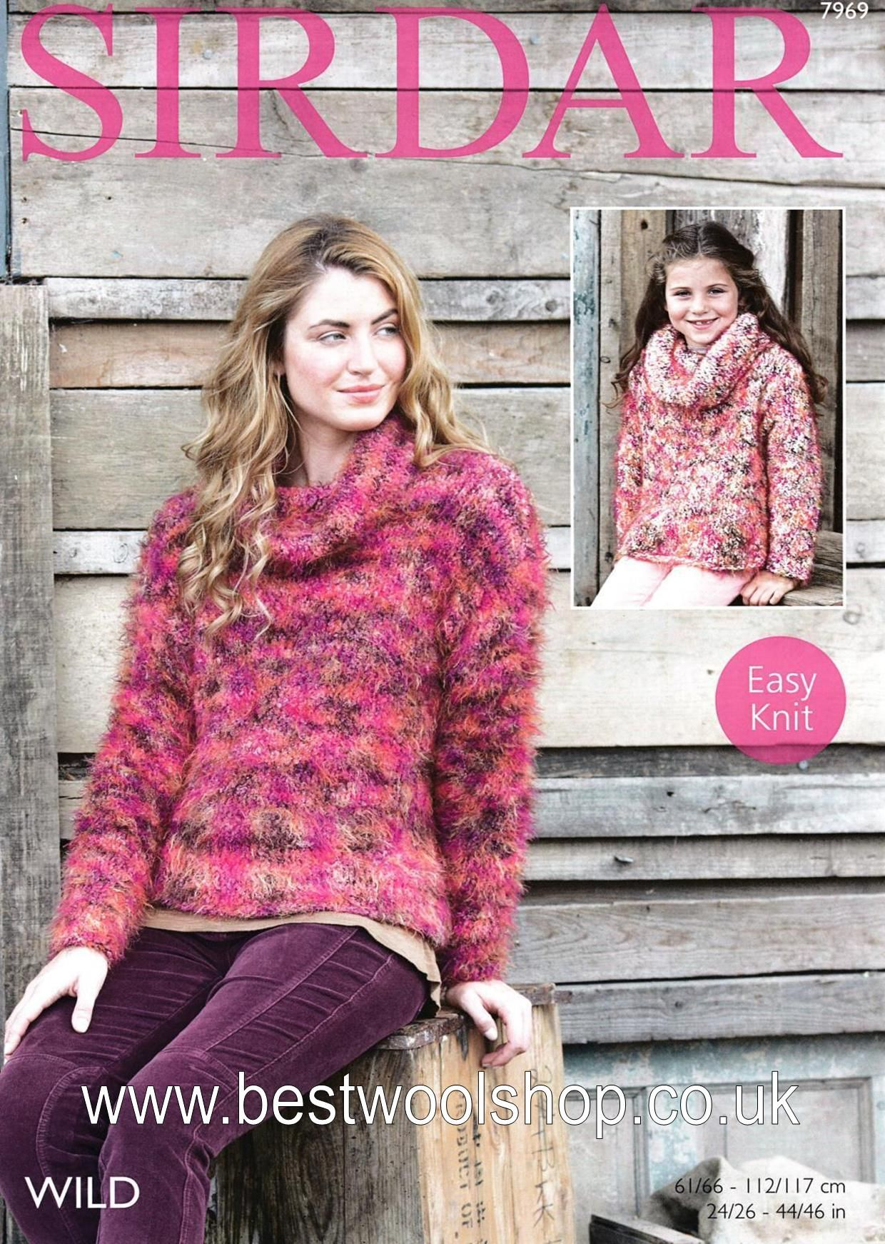 7969 Sirdar Wild Super Chunky Ladies Girls Sweater Knitting Pattern To Fit Chest 24 To 46