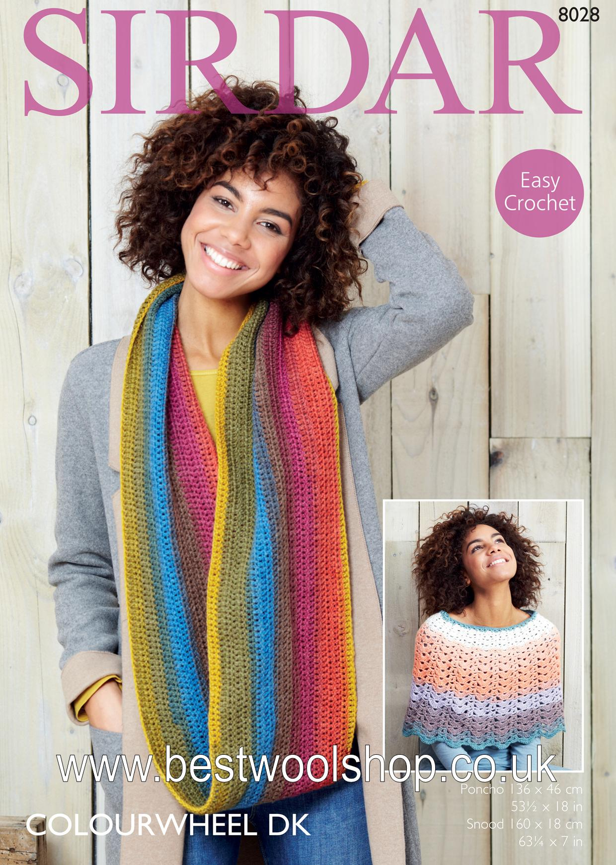 8028 Sirdar Colourwheel Dk Easy Crochet Poncho
