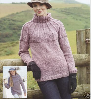 8989 Sirdar Click Chunky Yolked Sweater Knitting Pattern To Fit