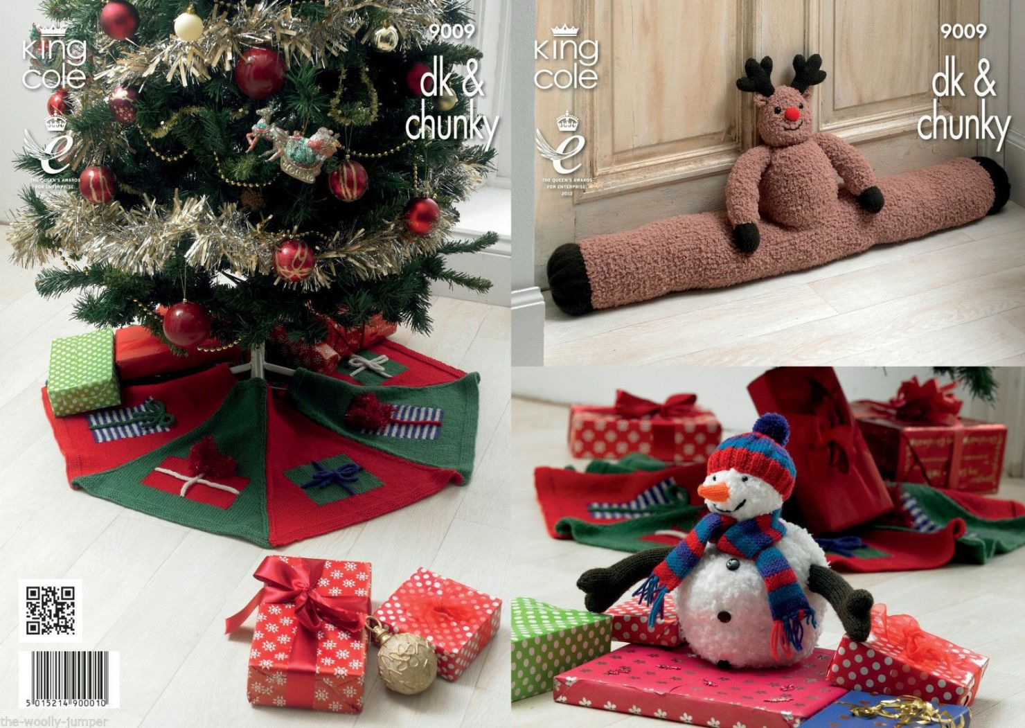 9009 King Cole Draught Rudolf Excluder Snowman Tree Skirt Knitting