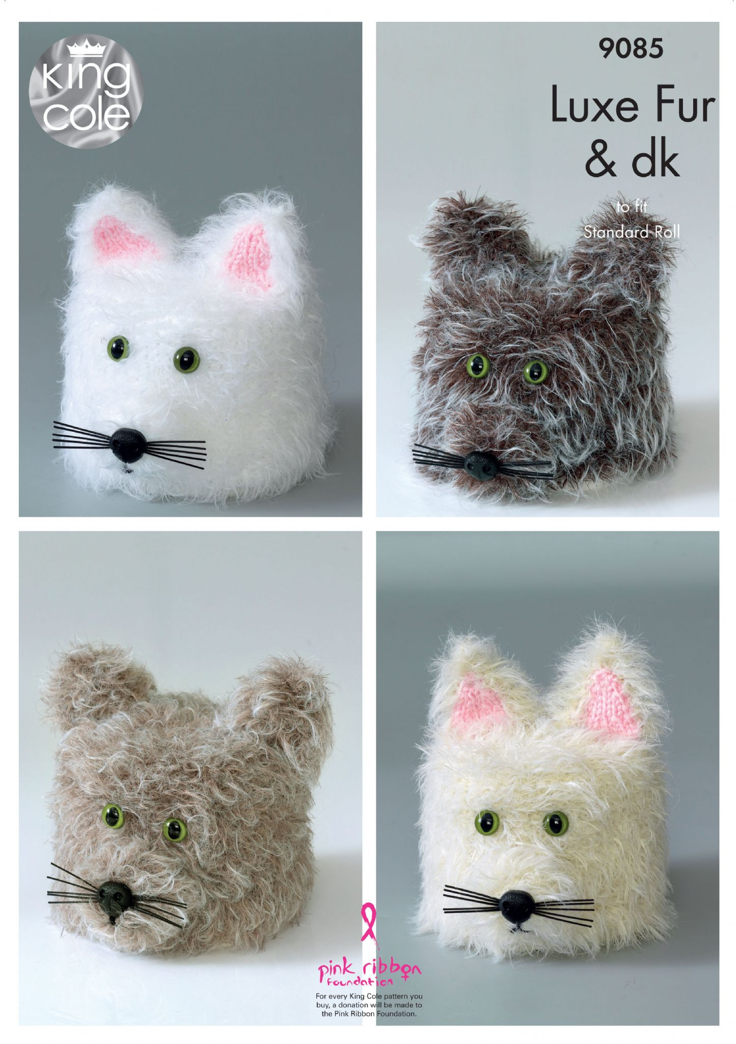 9085 - KING COLE LUXE FUR DOLLYMIX DK CAT TOILET ROLL COVER KNITTING ...