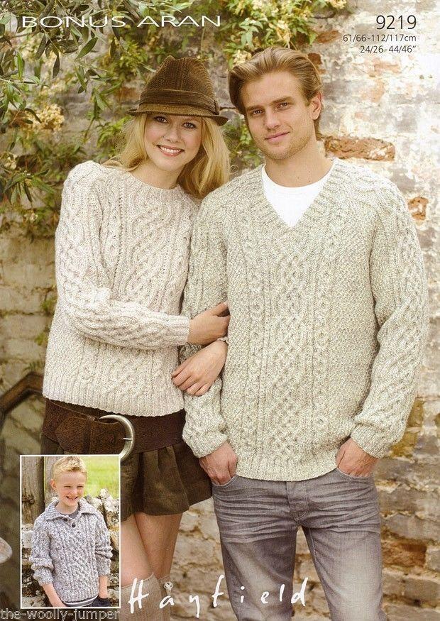 9219 Hayfield Bonus Aran Collered Round V Neck Sweater Knitting