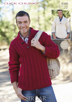 e4fc422c2 9390 - SIRDAR CLICK CHUNKY EASY KNIT MENS SWEATER KNITTING PATTERN - 38 to  48