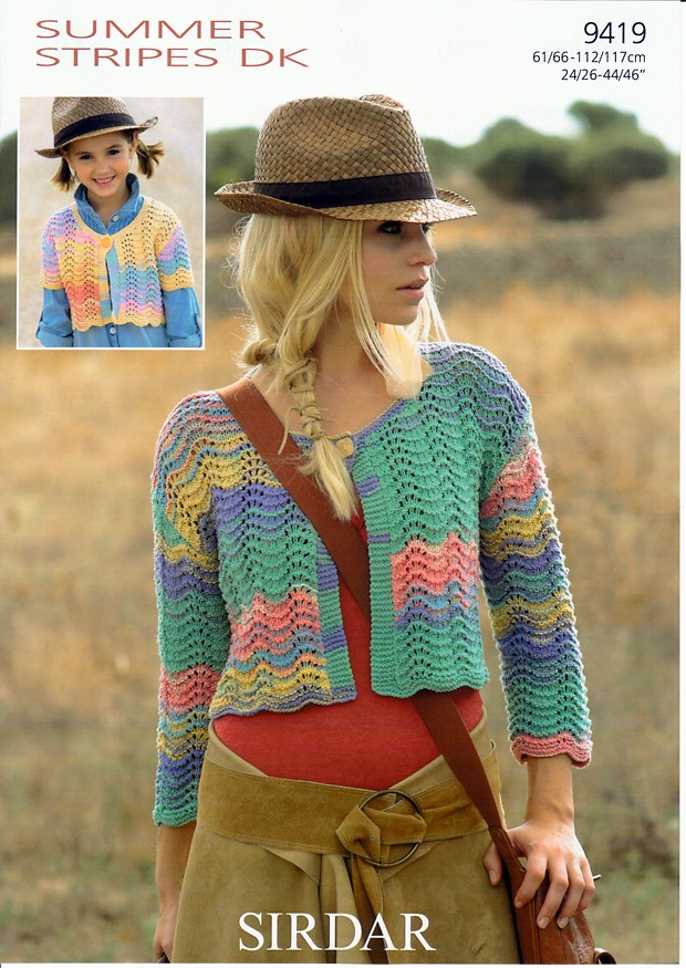 9419 - SIRDAR SUMMER STRIPES CARDIGAN KNITTING PATTERN - TO FIT ...