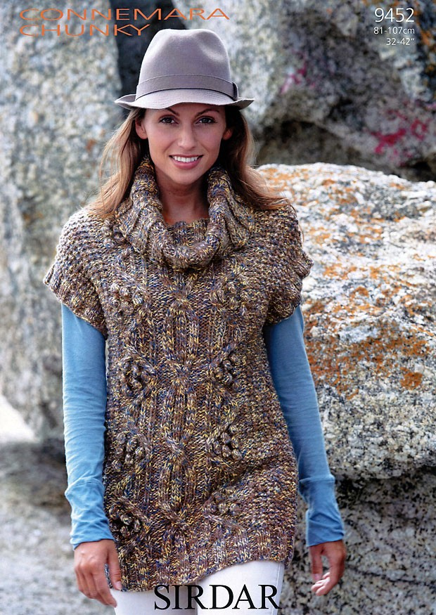 9452 - SIRDAR CONNEMARA CHUNKY CABLED TUNIC KNITTING PATTERN - TO ...