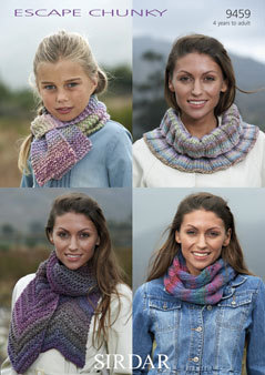 9459 - SIRDAR ESCAPE CHUNKY SCARF & SNOOD KNITTING PATTERN - TO FIT 4 YEARS  TO ADULT