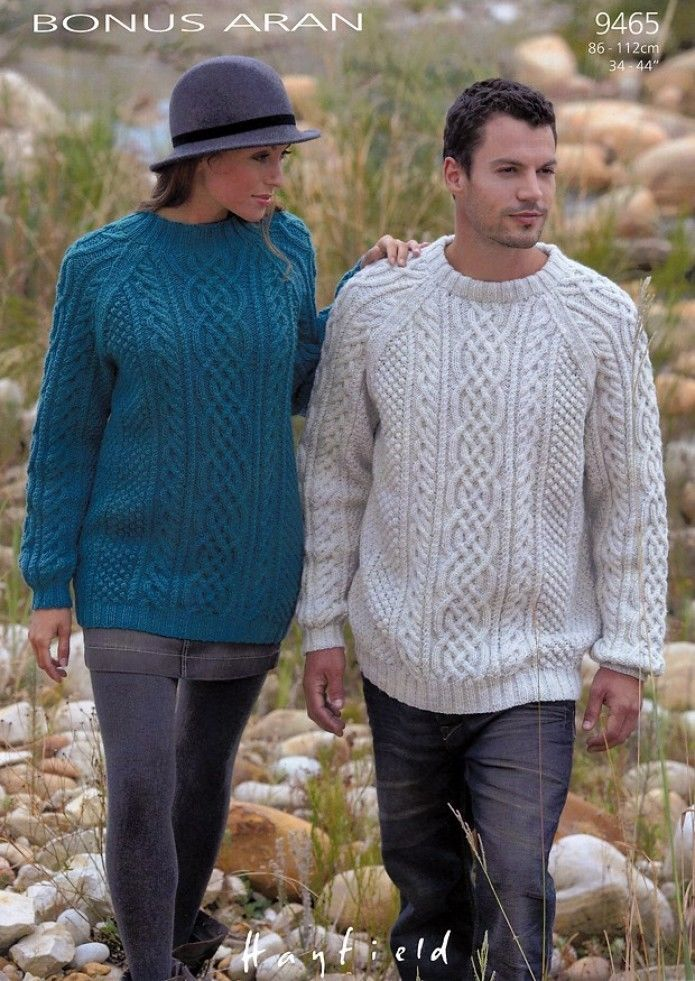 9465 Hayfield Bonus Aran Sweater Knitting Pattern To Fit 34 To 44