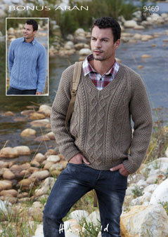 9469 Hayfield Bonus Aran Men S Sweater Knitting Pattern