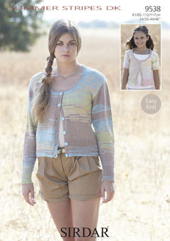 442354f6557a4 9538 - SIRDAR SUMMER STRIPES DK EASY KNIT CARDIGAN KNITTING PATTERN - TO FIT  CHEST 24 to 46