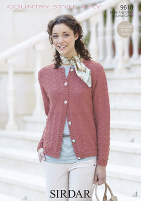 9610 - SIRDAR COUNTRY STYLE 4 PLY CARDIGAN KNITTING PATTERN - TO FIT CHEST 32...