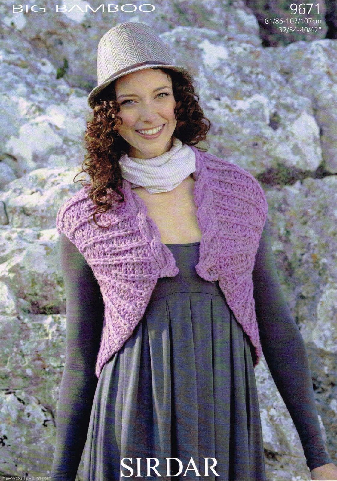 9671 Sirdar Big Bamboo Super Chunky Bolero Waistcoat Knitting