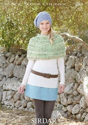 9785 - SIRDAR FAROE SUPER CHUNKY PONCHO & HAT KNITTING PATTERN - TO FIT  SMALL-MEDIUM-LARGE