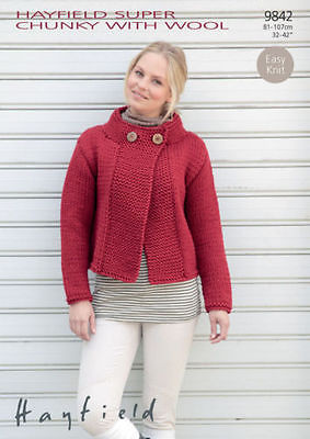9842 Hayfield Super Chunky With Wool Cardigan Knitting Pattern