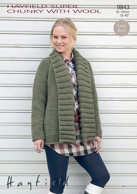 9843 Hayfield Super Chunky With Wool Cardigan Jacket Knitting